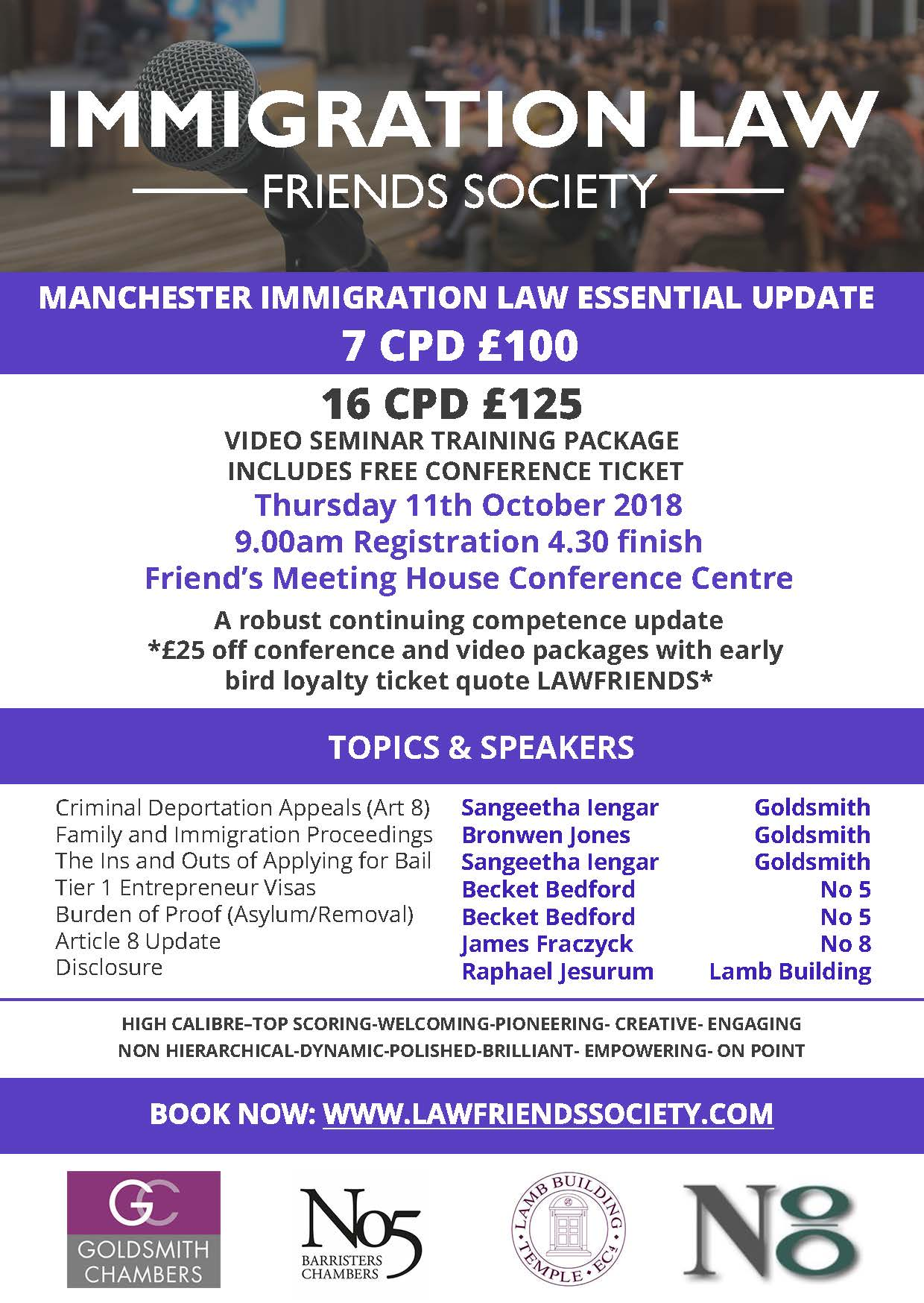 """Essential Update"" Immigration Conference, Manchester 11 Oct, 7-16 CPD.  Speaker James Fraczyk"